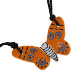 Vintage Choker Orange Blue Ceramic Butterfly Pendant Festival Wear Jewelry Thumbnail 2