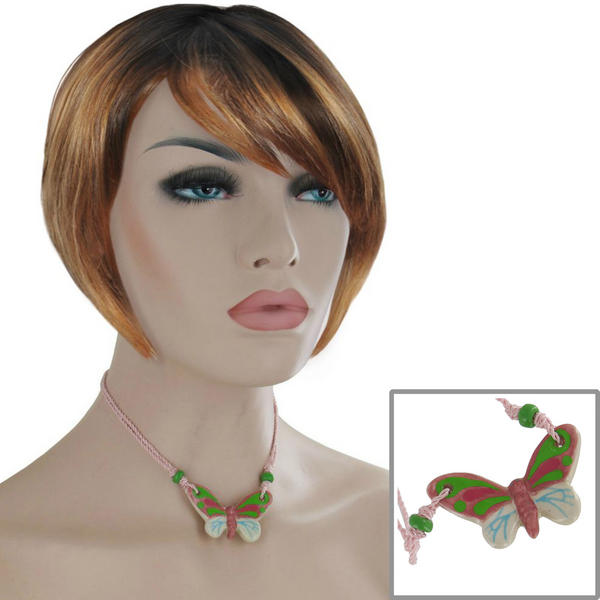 Butterfly Pendant Collar Choker Necklace Light Pink Green Ceramic 15 1/2""