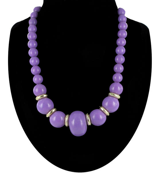 Vintage Purple Graduated Plastic Beaded Necklace