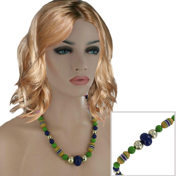 Festival Wear Jewelry Beaded Graduated Necklace Pink Yellow Green Blue 24""