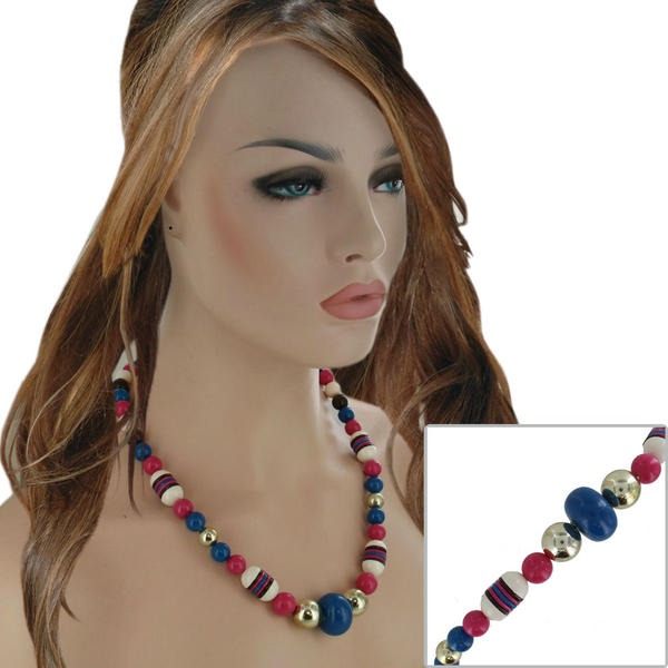 Vintage Beaded Necklace Pink Blue White Brown 24""