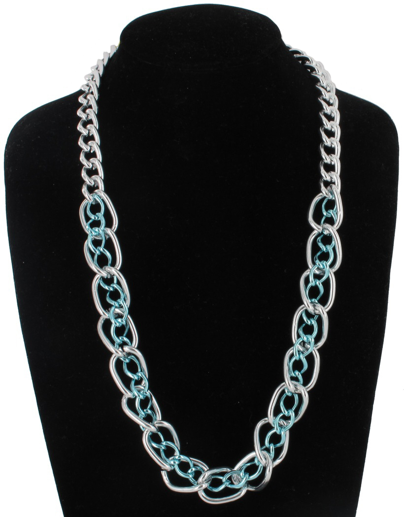 Oversized Silver Tone and Blue Chunky Chain Link Necklace 23""
