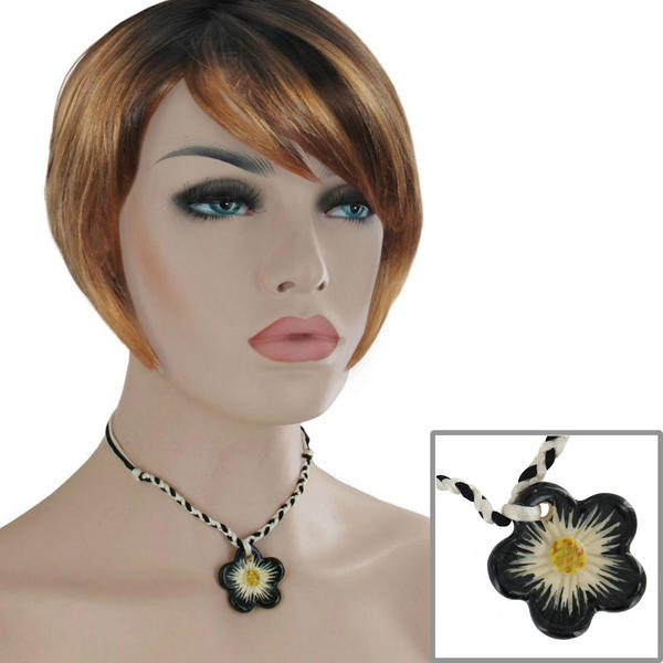 Black White Ceramic Flower Choker Collar Pendant Necklace 15""
