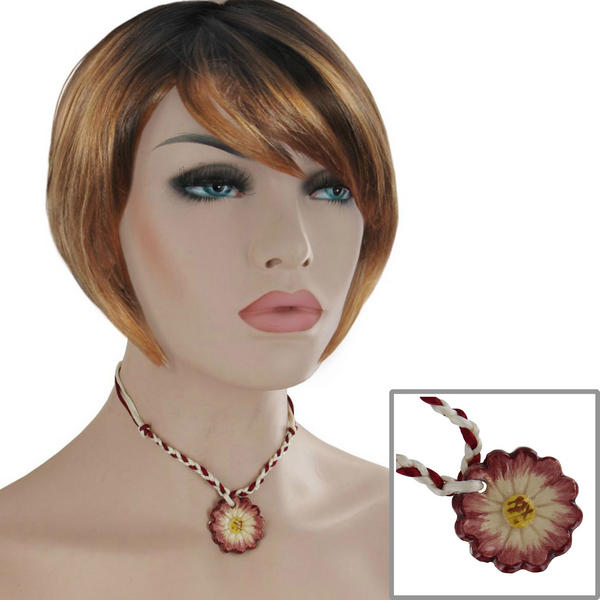 "Red White Choker Pendant Collar Necklace Ceramic Flower 15"" Festival Wear Jewelry"