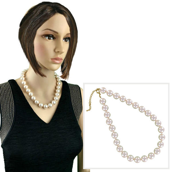 New Glass Faux Pearl Light Pink Beaded Necklace