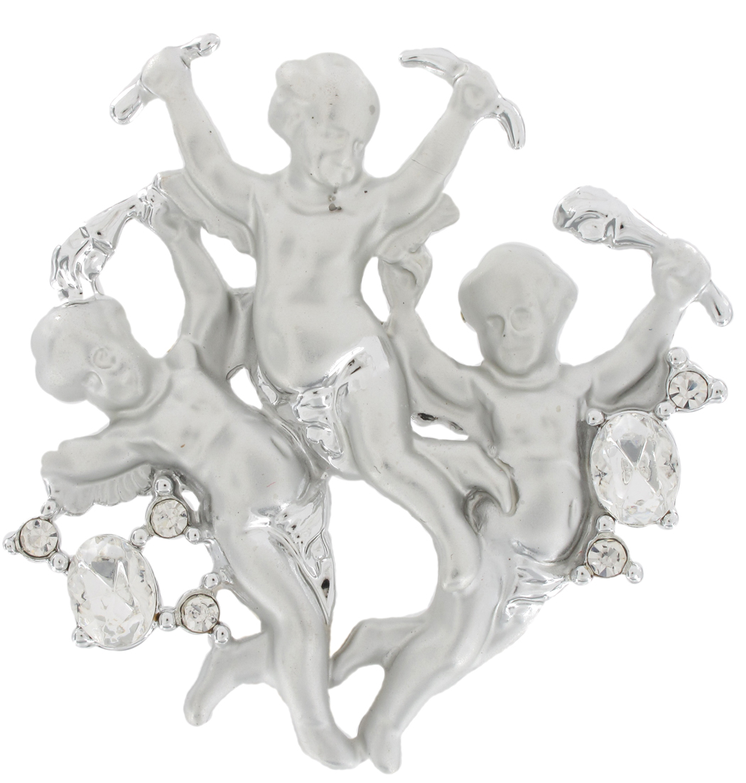 Silver Tone Cupid Angel Putti Cherub Brooch Pin