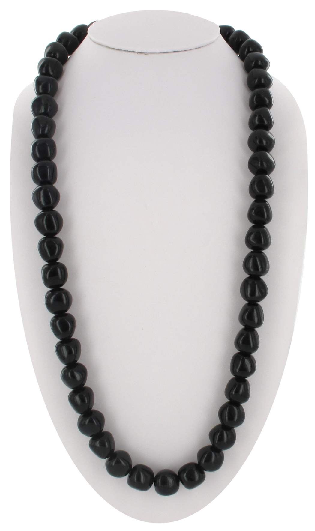 "Vintage Black Lucite Beaded Necklace Long 30"" Made in Haiti"