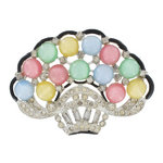 1930s Vintage Pot Metal Enamel Pastel Moonglow Pin Brooch