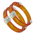 Set of 2 Bracelet Bangle New Lucite Clear Silver Tone Red Orange