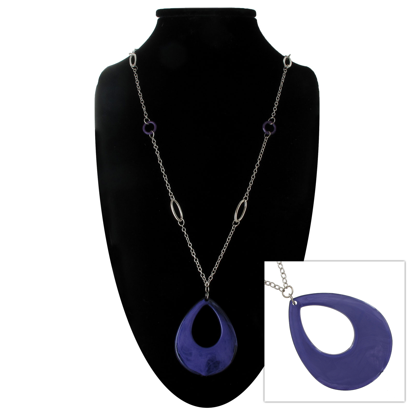 Pendant Necklace New Silver Tone Purple Drop Bead Chain
