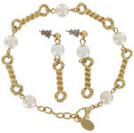 Bracelet & Pierced Earrings Faux Pearl Charm Dangle Gold Tone Jewelry Set