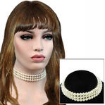 Vintage 1950s Japan Faux Pearl 3 Strand Choker Necklace Thumbnail 1