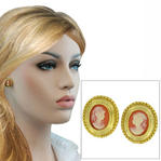 Cameo Antiqued Gold Tone Oval Button Pierced Earrings