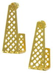 Pierced Earrings Hoop New Gold Tone Checkered Design Square Long 1 1/4""