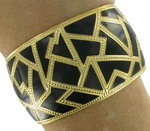 Big Wide Large Black Cloisonne Gold Tone Cuff Bracelet Thumbnail 5