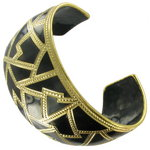 Big Wide Large Black Cloisonne Gold Tone Cuff Bracelet Thumbnail 3