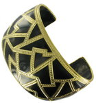 Big Wide Large Black Cloisonne Gold Tone Cuff Bracelet Thumbnail 4