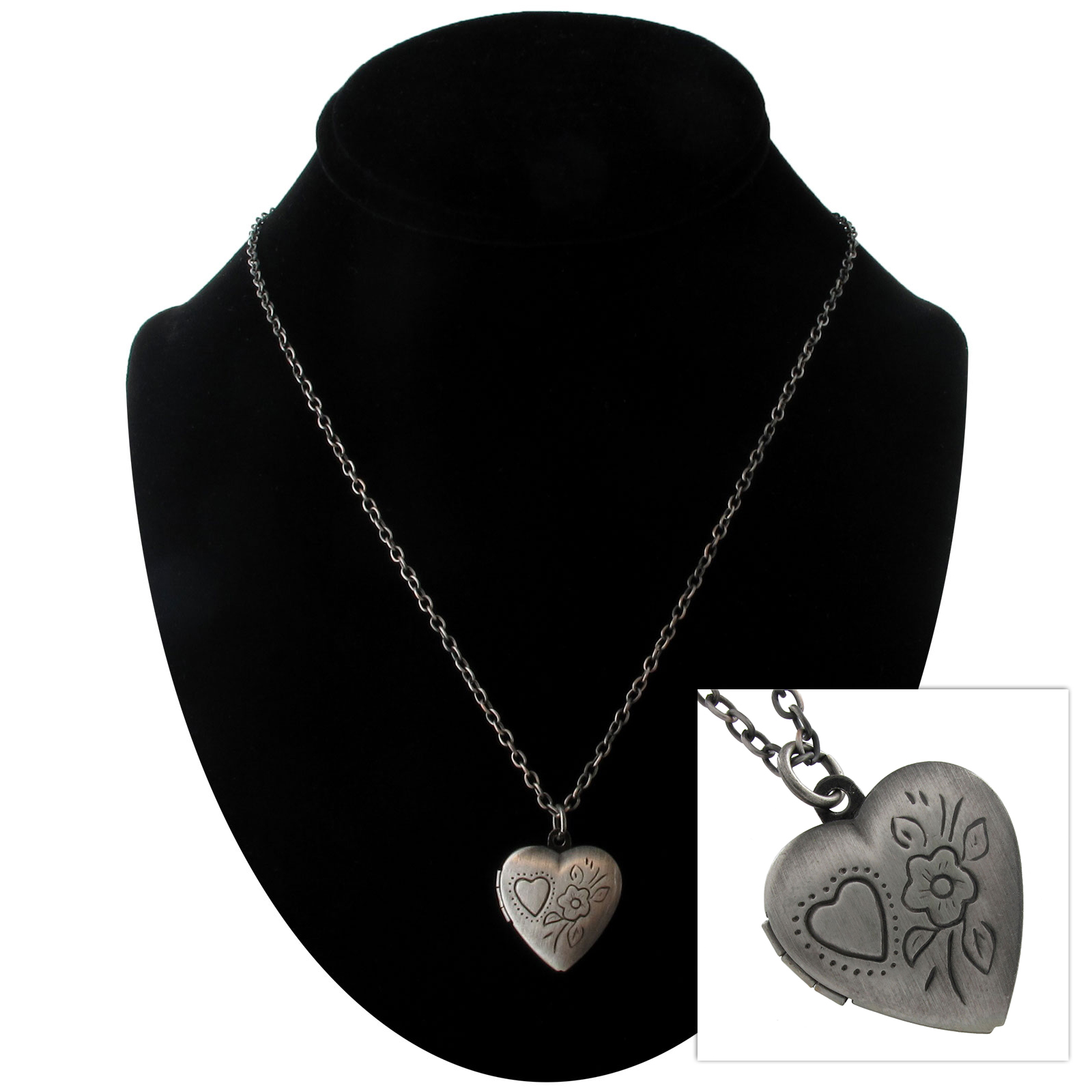Burnished Silver Tone Heart Photo Locket Pendant Necklace