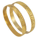 Made In India Bangle Bracelet New Sparkle Cut Gold Tone Set Of 2
