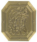 Repousse 1890 Art Metal Nouveau Revival Girl Pin Brooch