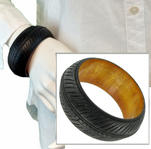 Chunky Dark Black Painted Wood Bangle Bracelet