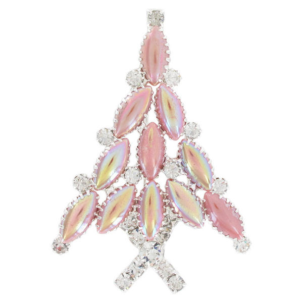 Christmas Tree Pin Brooch Pink Clear Rhinestone Crystal