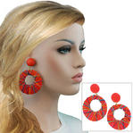 Vintage 1980S Red Wrapped Huge Eyelet Hoop Clip On Earrings