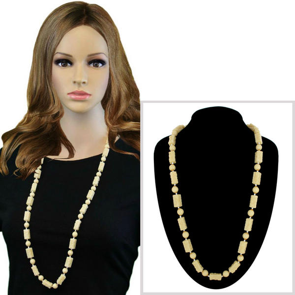 "Cream Color Plastic Cylinder Beaded Long Necklace 36"" Vintage Jewelry"