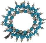 Vintage Sky Blue Beaded Fringe Stretch Bracelet