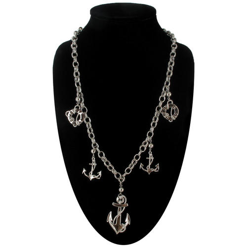 Ky & Co Silver Tone Nautical Anchor Charms Statement Necklace Pendant