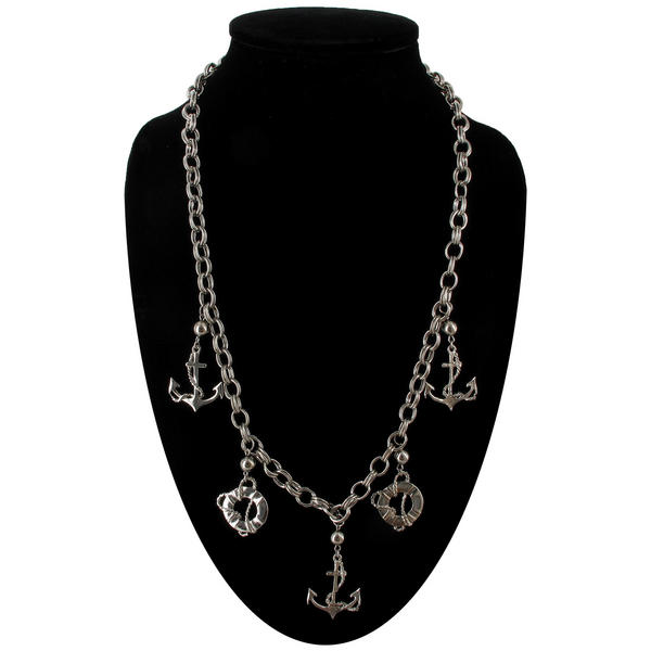 Ky & Co Statement Necklace Anchor Nautical Chain Charms Silver Tone Chunky