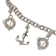 Ky & Co Statement Necklace Anchor Nautical Chain Charms Silver Tone Chunky Thumbnail 3