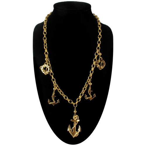 Ky & Co Chunky Statement Necklace Gold Tone Nautical Anchor