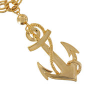 Ky & Co Chunky Statement Necklace Gold Tone Nautical Anchor Thumbnail 3