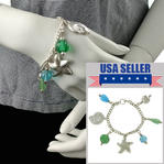 Beach Sea Shell Starfish Glass Charm Bracelet