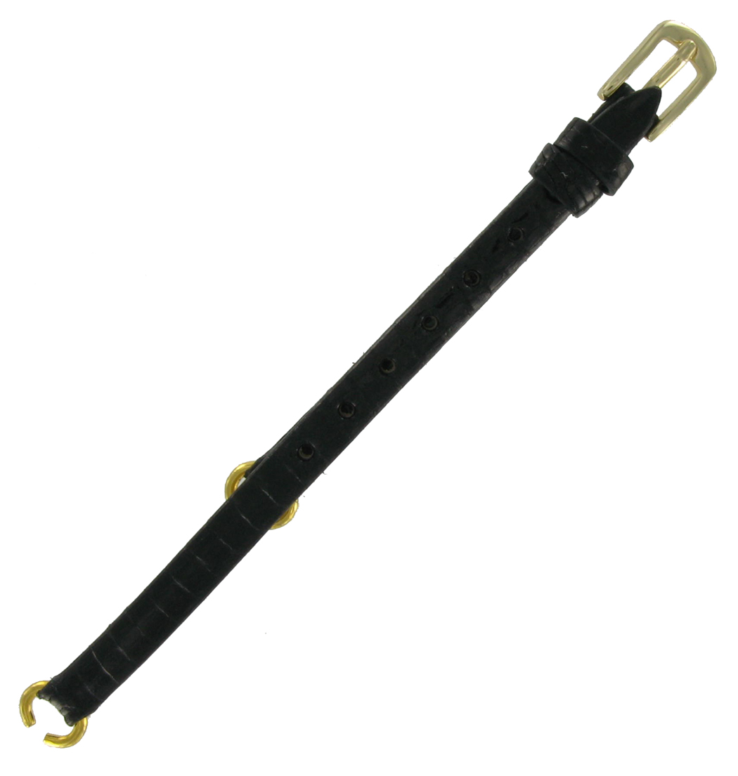 Hadley-Roma LS700RE Watch Strap C Ring Black Genuine Lizard Yellow Buckle