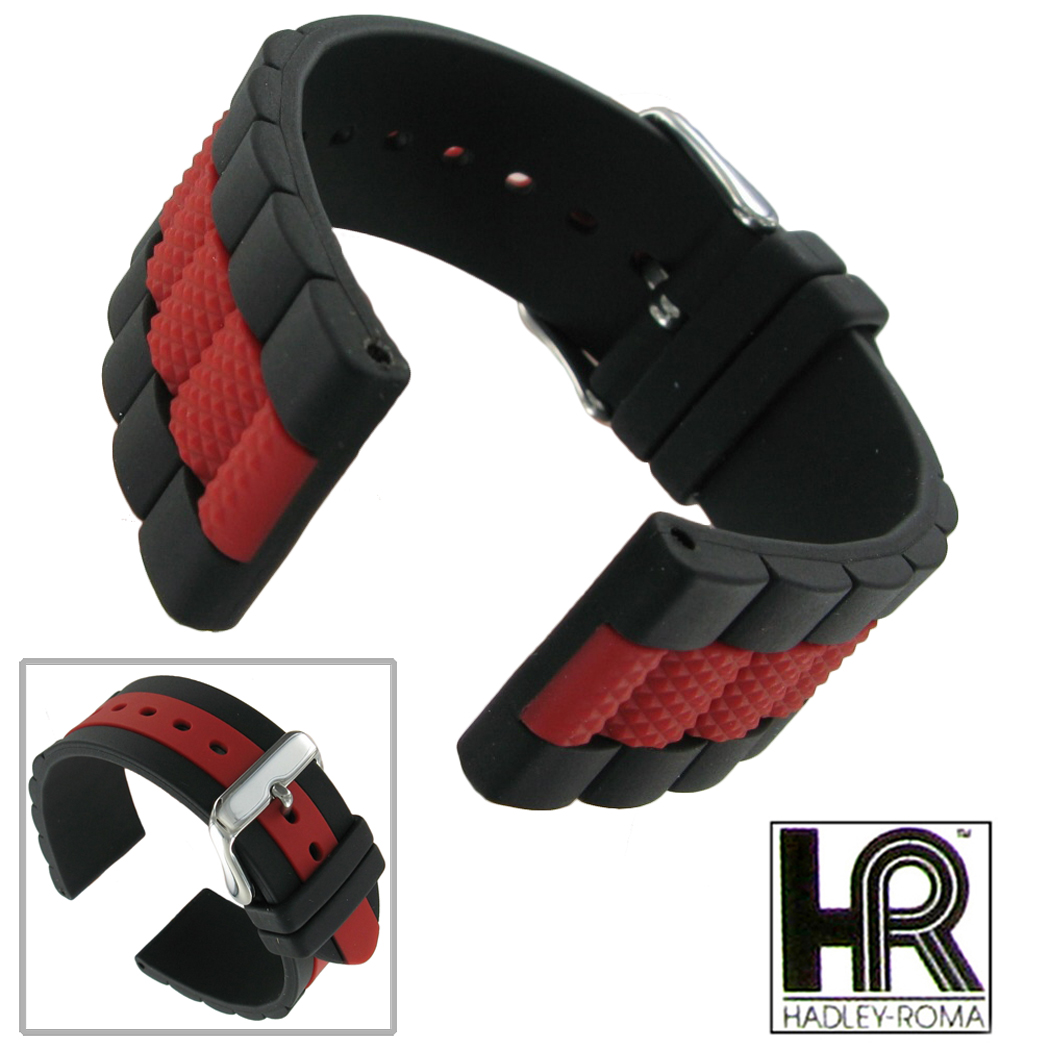 Watch Band Ms3344 22mm Black Red Rubber Silicone Roma