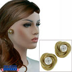 Gold Tone Knot Faux Pearl Pierced Earrings Retro Classic 1""
