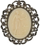 Vintage Faux Pearl Cream Cameo Pin Brooch Pendant