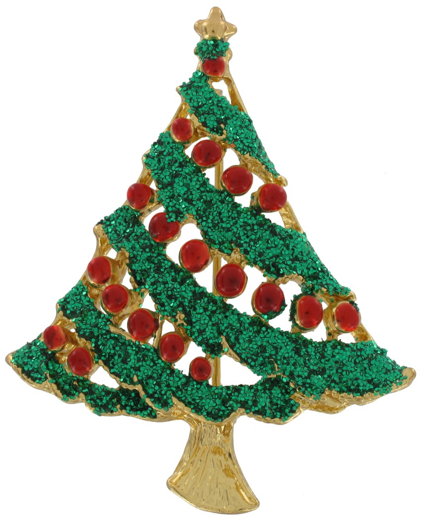 Green glitter christmas tree holiday pin brooch wholesale