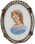 Vintage Painted Glass Cameo Pin Brooch Pendant