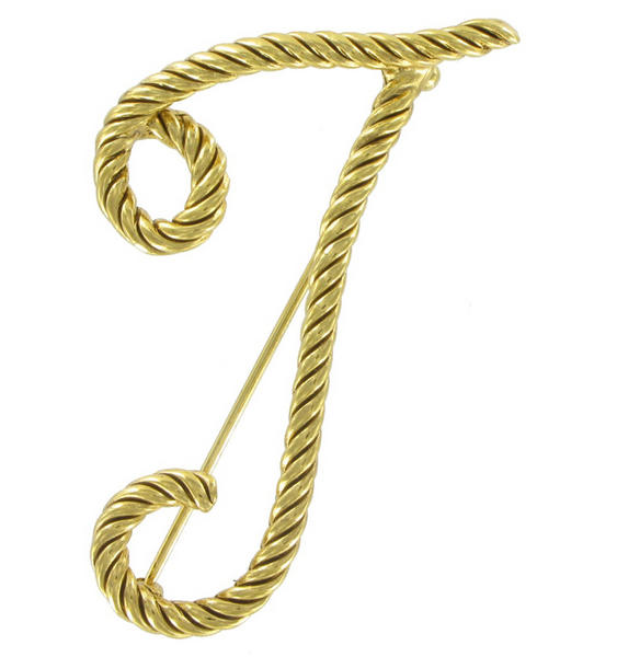 "Large Script Gold Tone Rope Initial ""T"" Pin Brooch"