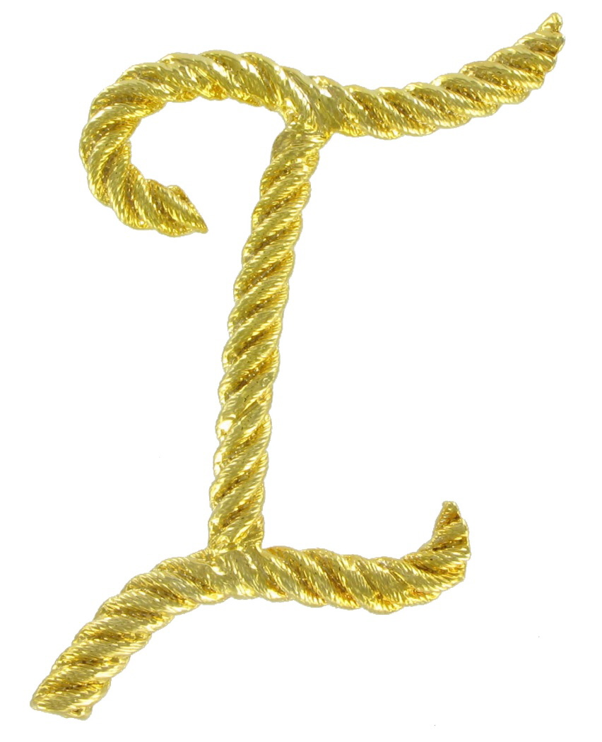 "Script Yellow Gold Tone Rope Initial ""I"" Big Pin Brooch"