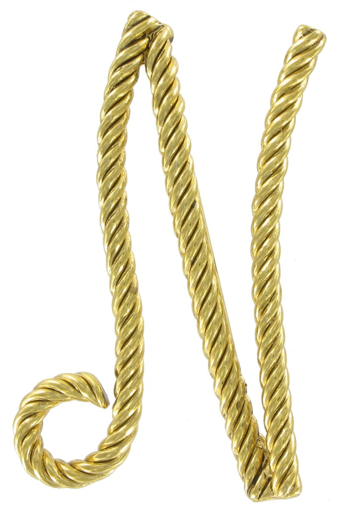 "Large Script Gold Tone Rope Initial ""N"" Pin Brooch"