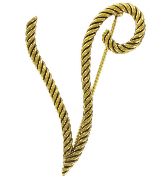 "Large Script Gold Tone Rope Initial ""V"" Pin Brooch"
