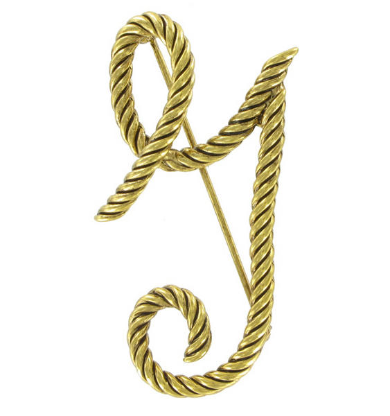 "Large Script Gold Tone Rope Initial ""Y"" Pin Brooch"