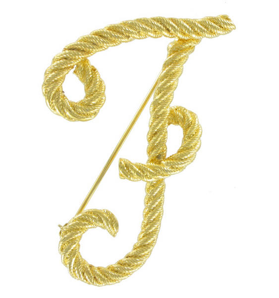 "Big Script Yellow Gold Tone Rope Initial ""F"" Pin Brooch"