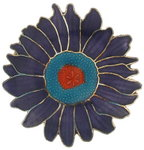 Vintage Cloisonne Purple Blue Lotus Flower Pin Brooch