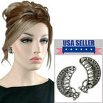 Antiqued Silver Tone Filigree Crescent Clip On Earrings