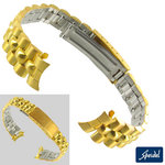 Speidel 23K Color Yellow Gold Tone Bracelet Watch Band 13mm  Curved End Ladies
